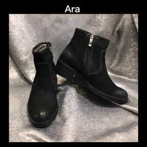 ♠️ARA 7 Black Suede Leather Ankle Boots♠️
